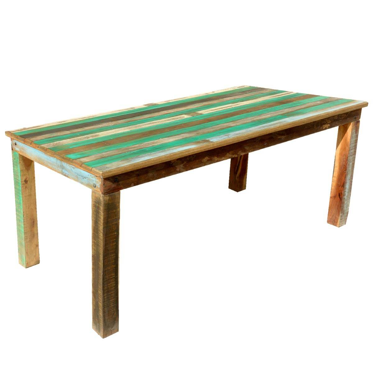Appalachian rustic reclaimed wood striped top dining table for Reclaimed wood dining table