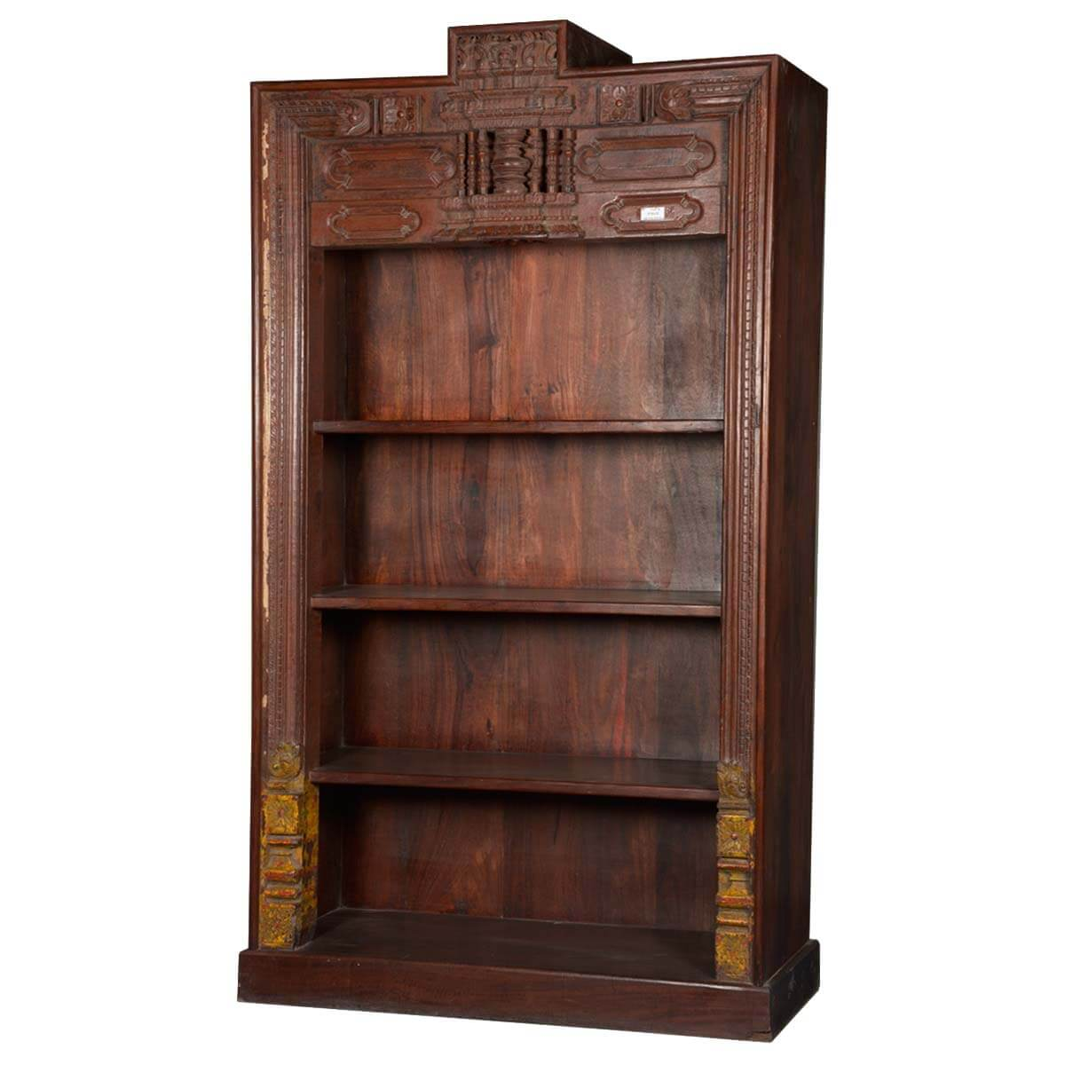 Timber Bookcase: Classic Hand Carved Reclaimed Wood 4-Shelf Open Display
