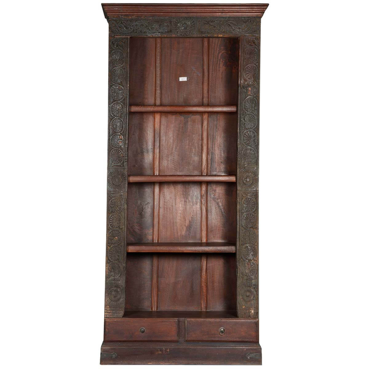 Gothic reclaimed wood shelf open display bookcase w