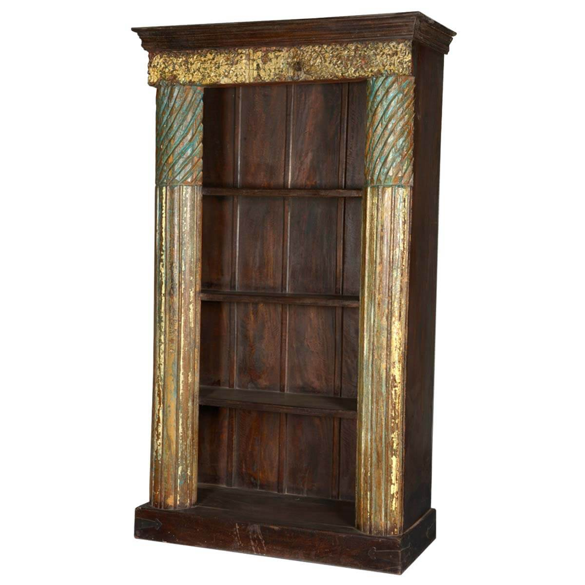 Reclaimed Wood Bookcase ~ Golden column reclaimed wood shelf open display bookcase