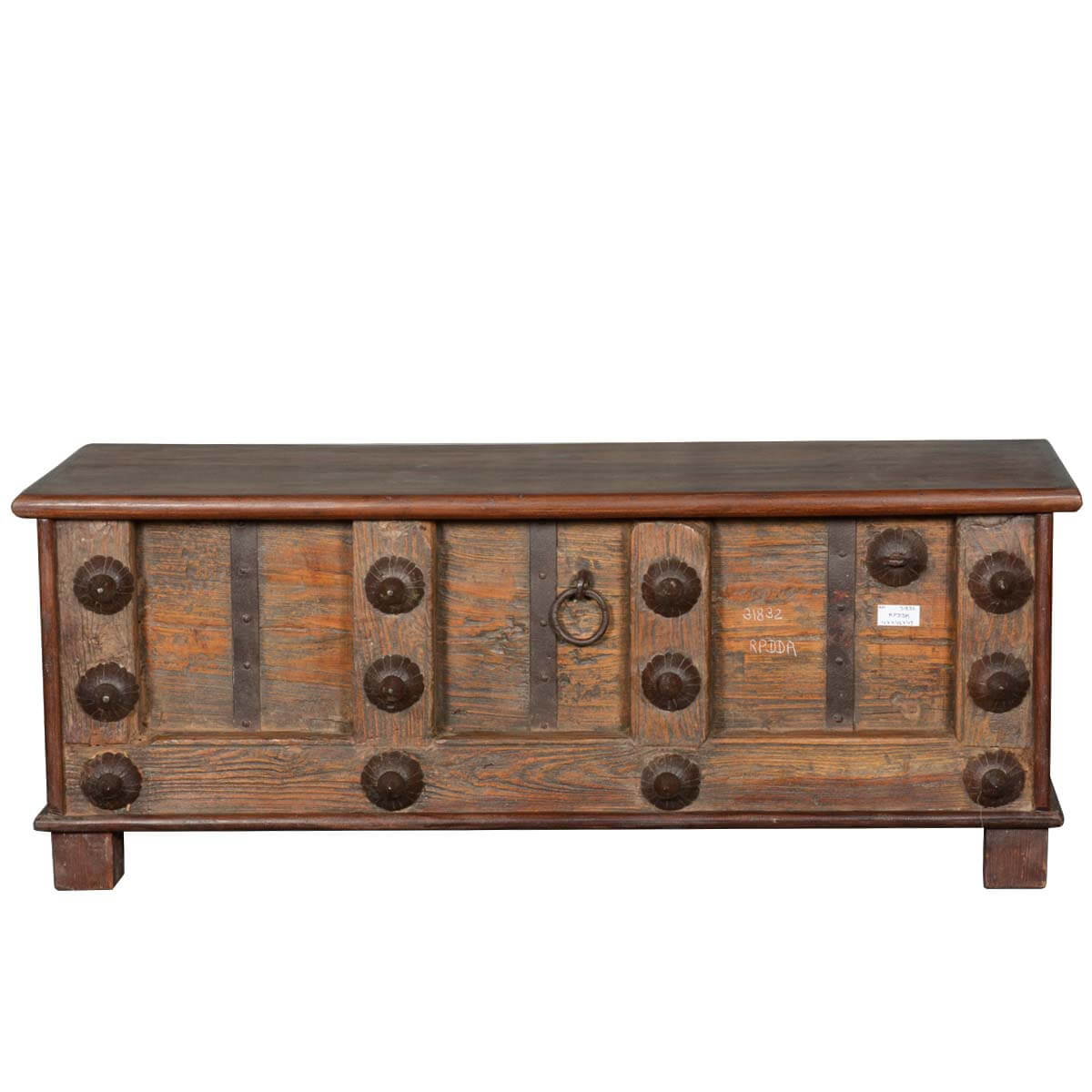 Rustic Pirate Reclaimed Wood Iron Storage Trunk Chest