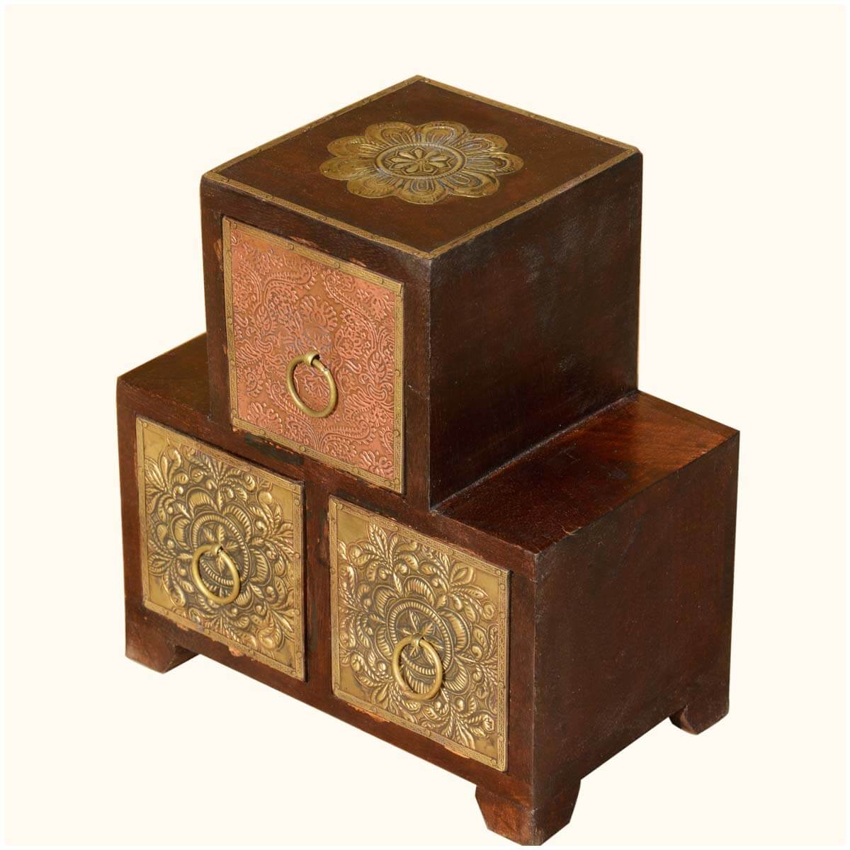Palace Gate Pyramid Wood Amp Brass Table Top Mini 3 Drawers