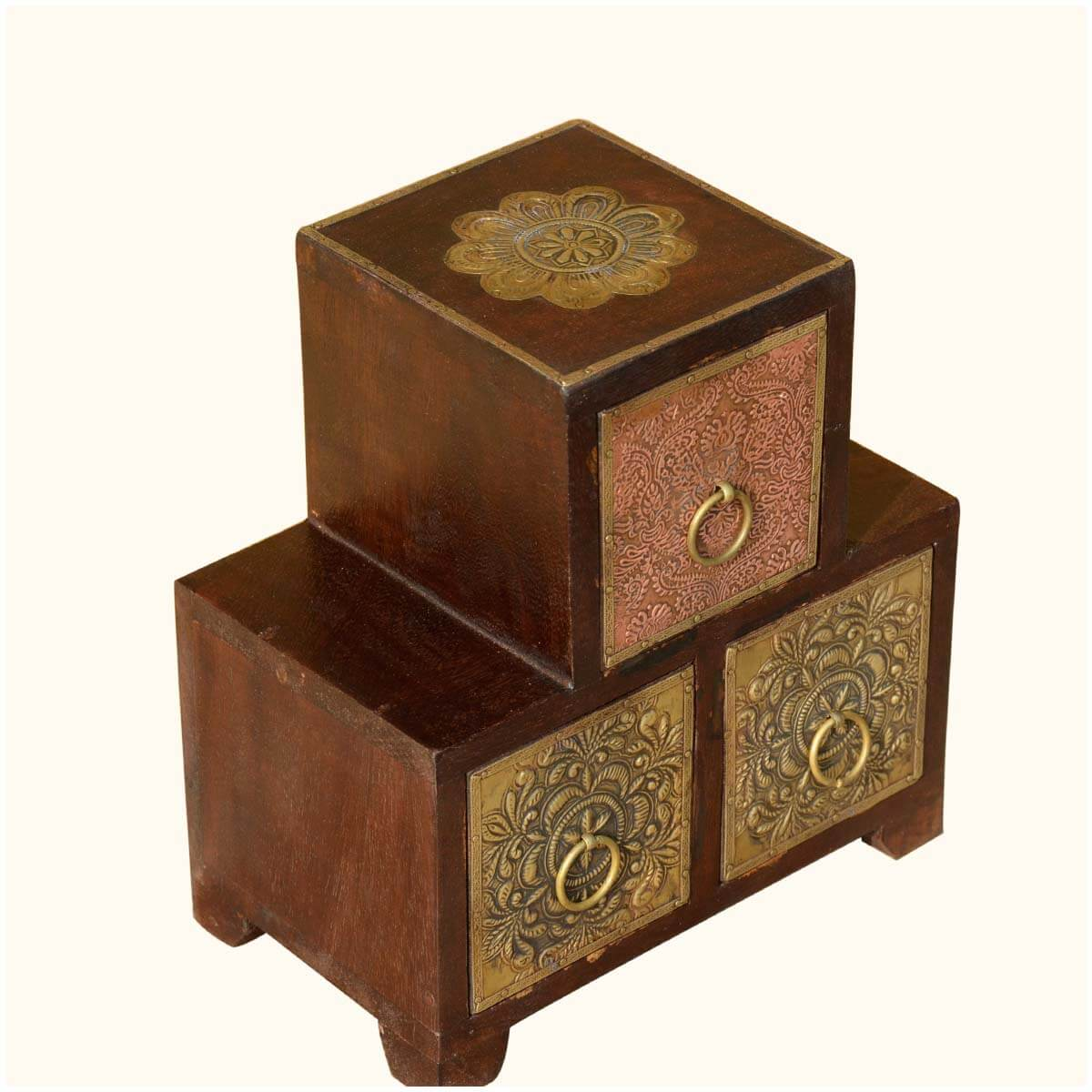 palace gate pyramid wood brass table top mini 3 drawers
