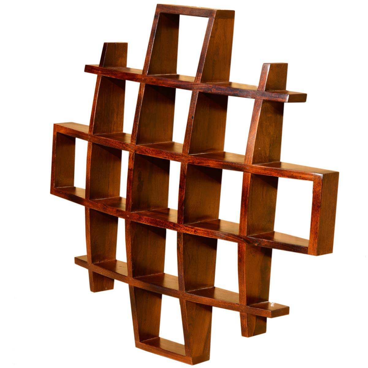 Contemporary Wood Wall Decor : Contemporary wood display wall hanging shelves home decor