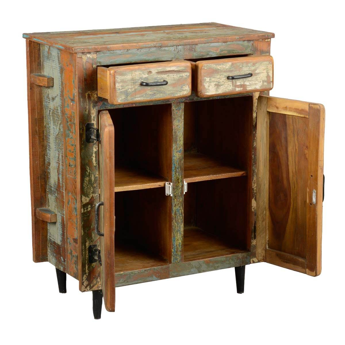 Reclaimed Wood Kitchen Cabinets: Fabius Rustic Reclaimed Wood 2 Drawer Freestanding Storage
