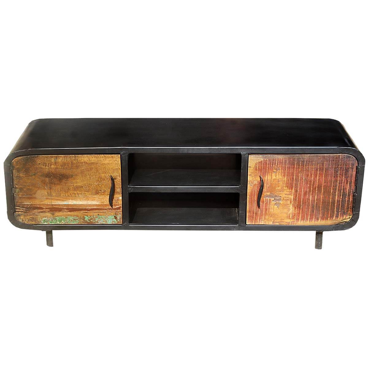 1950s Retro Reclaimed Wood amp Iron Media Cabinet TV Stand
