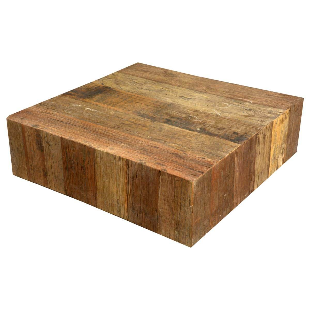 Unique rustic railroad reclaimed wood square coffee table ebay Wood square coffee tables