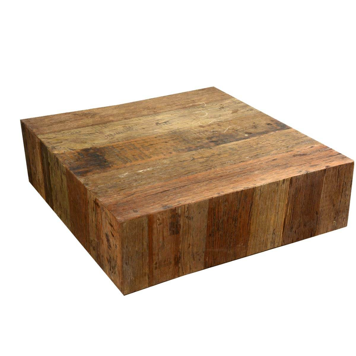 Appalachian Rustic Railroad Wood Square Box Style Coffee Table