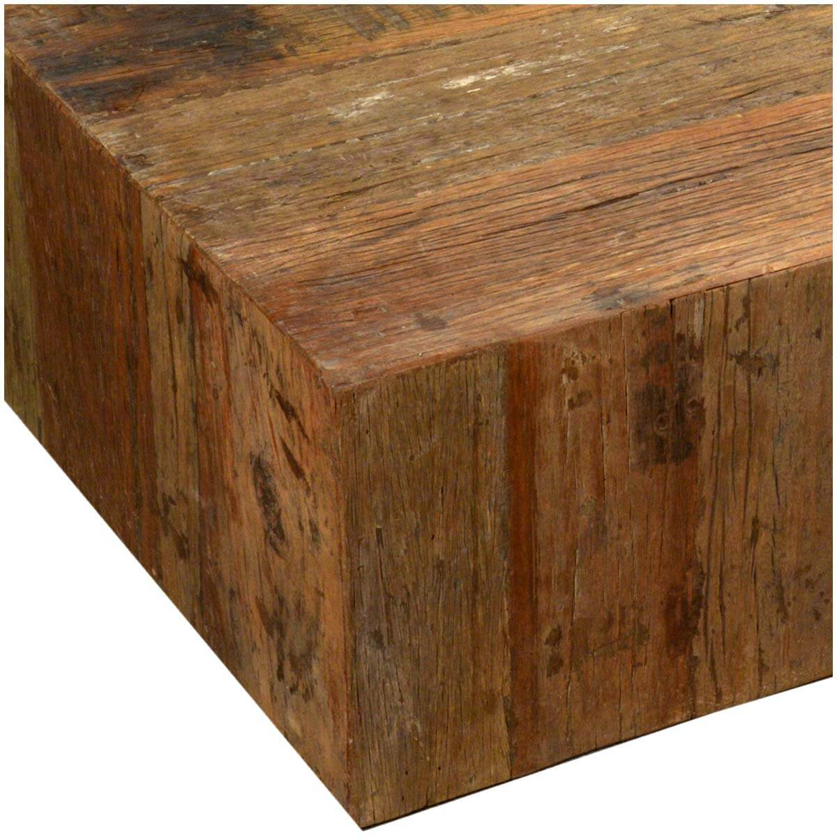 Unique Rustic Railroad Reclaimed Wood Square Coffee Table