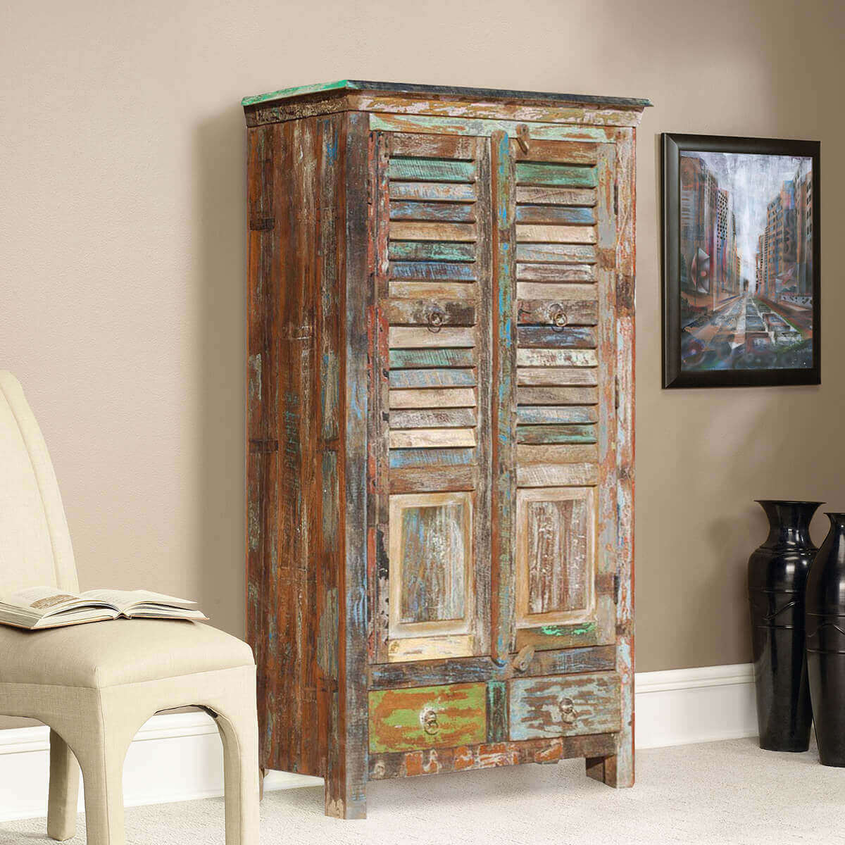 Appalachian rustic reclaimed wood shutter door armoire
