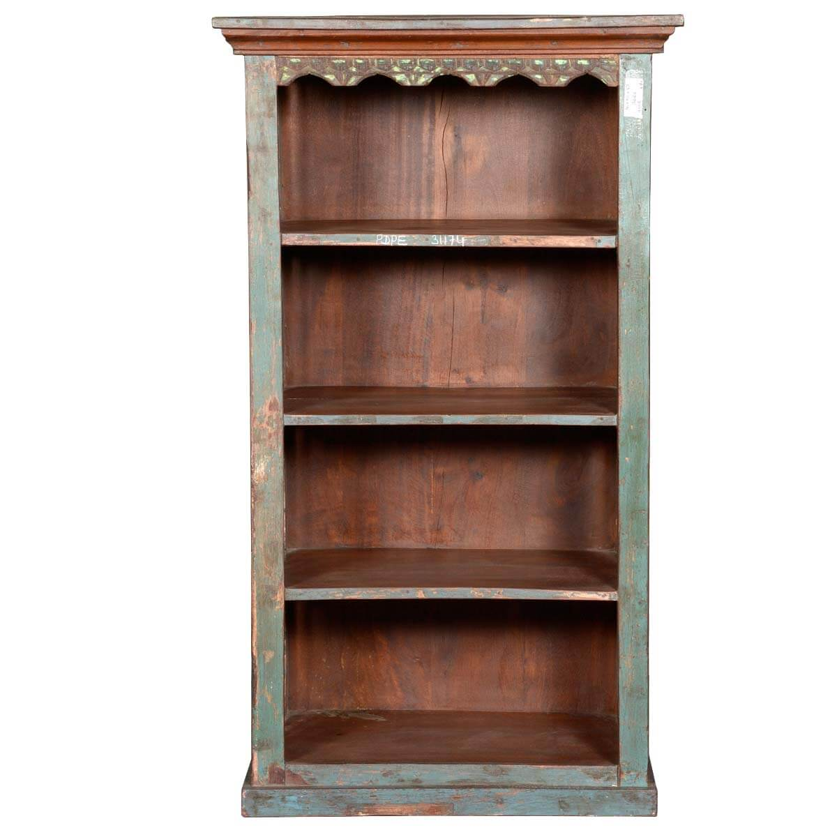Rustic jail bar reclaimed wood quot tall open bookcase curio