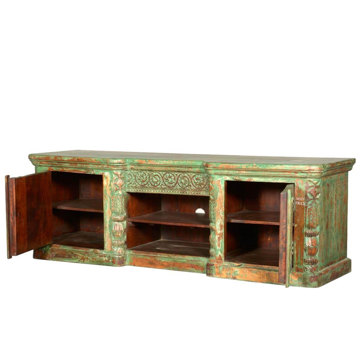 Paradise Pastel Rustic Reclaimed Wood Tv Media Stand And