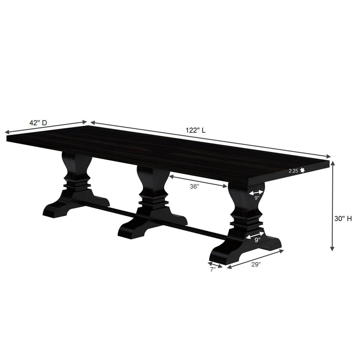 Elizabethan 3 pedestal solid wood large dining table for for Biggest dining table