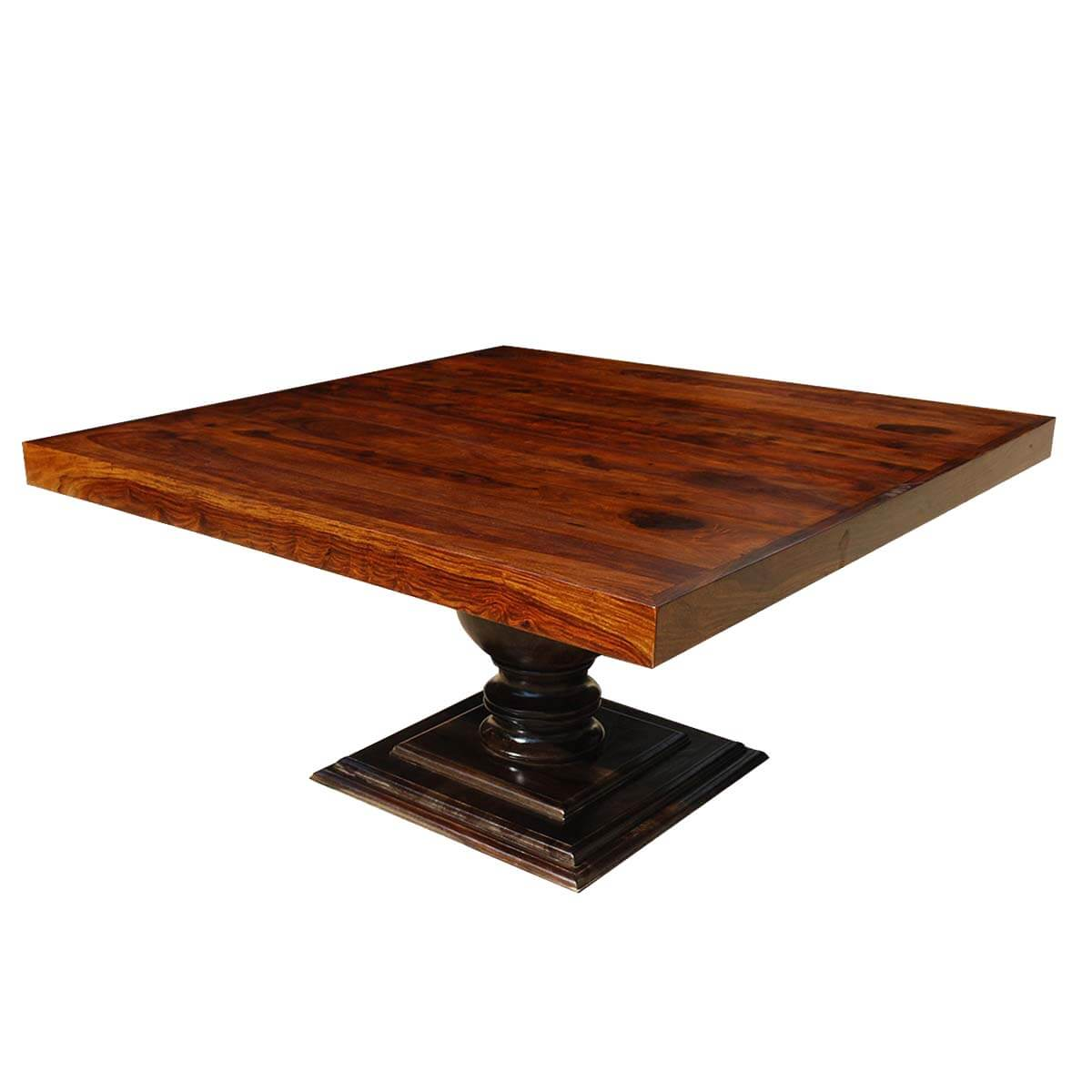 Minneapolis rustic solid wood fusion pedestal square for Pedestal dining table