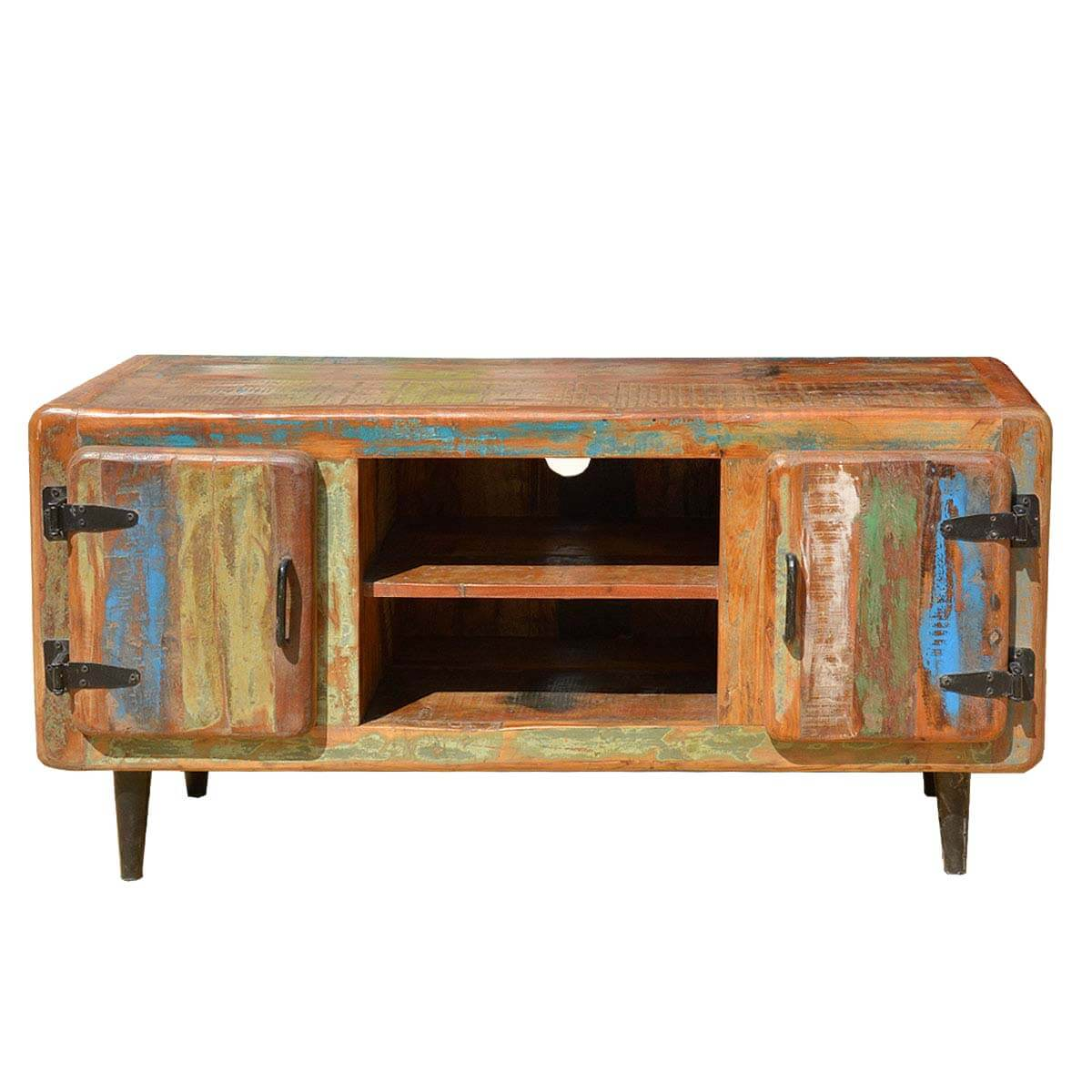 Rustic Reclaimed Wood Retro Industrial Media Stand And Console