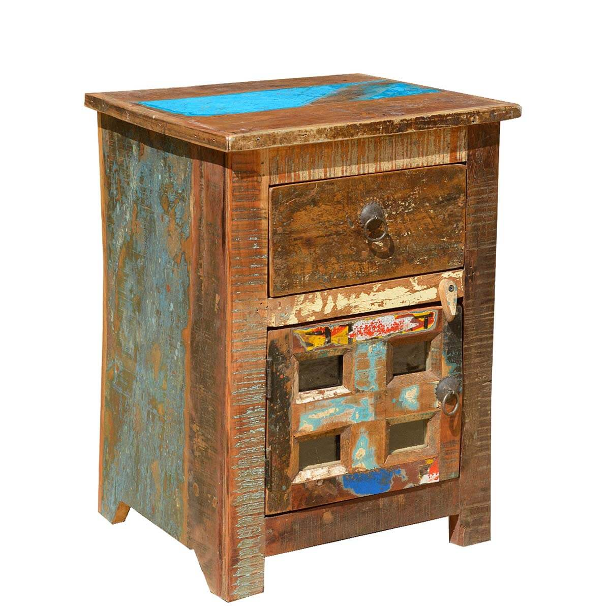 Rustic Old Reclaimed Wood Distressed Bedside End Table