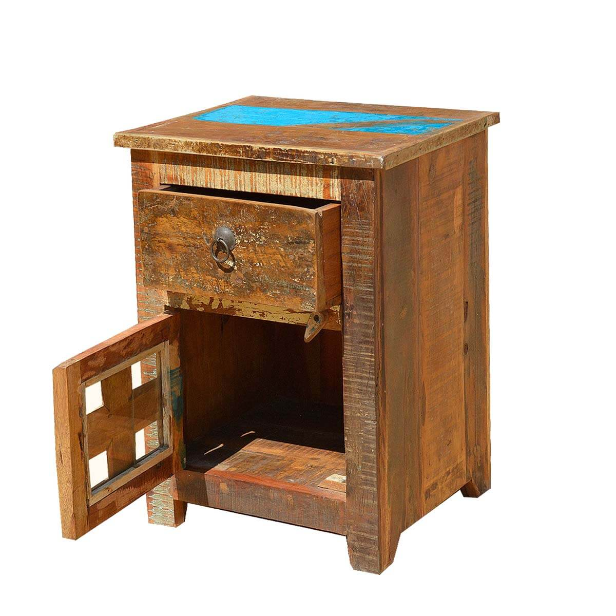 Rustic old reclaimed wood distressed bedside end table for Rustic wood nightstand