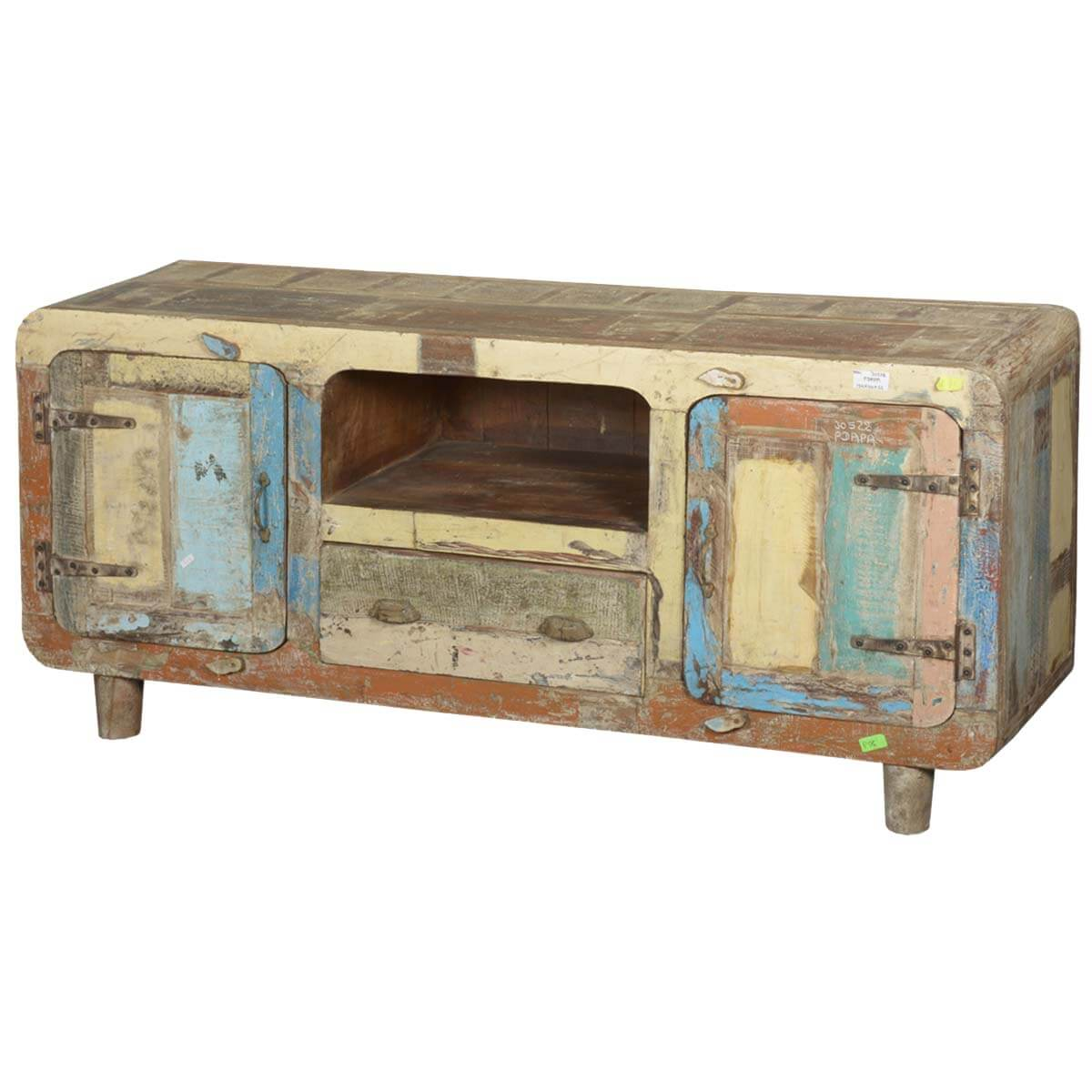 Wood Media Console Furniture ~ Rustic reclaimed wood furniture retro patchwork tv stand