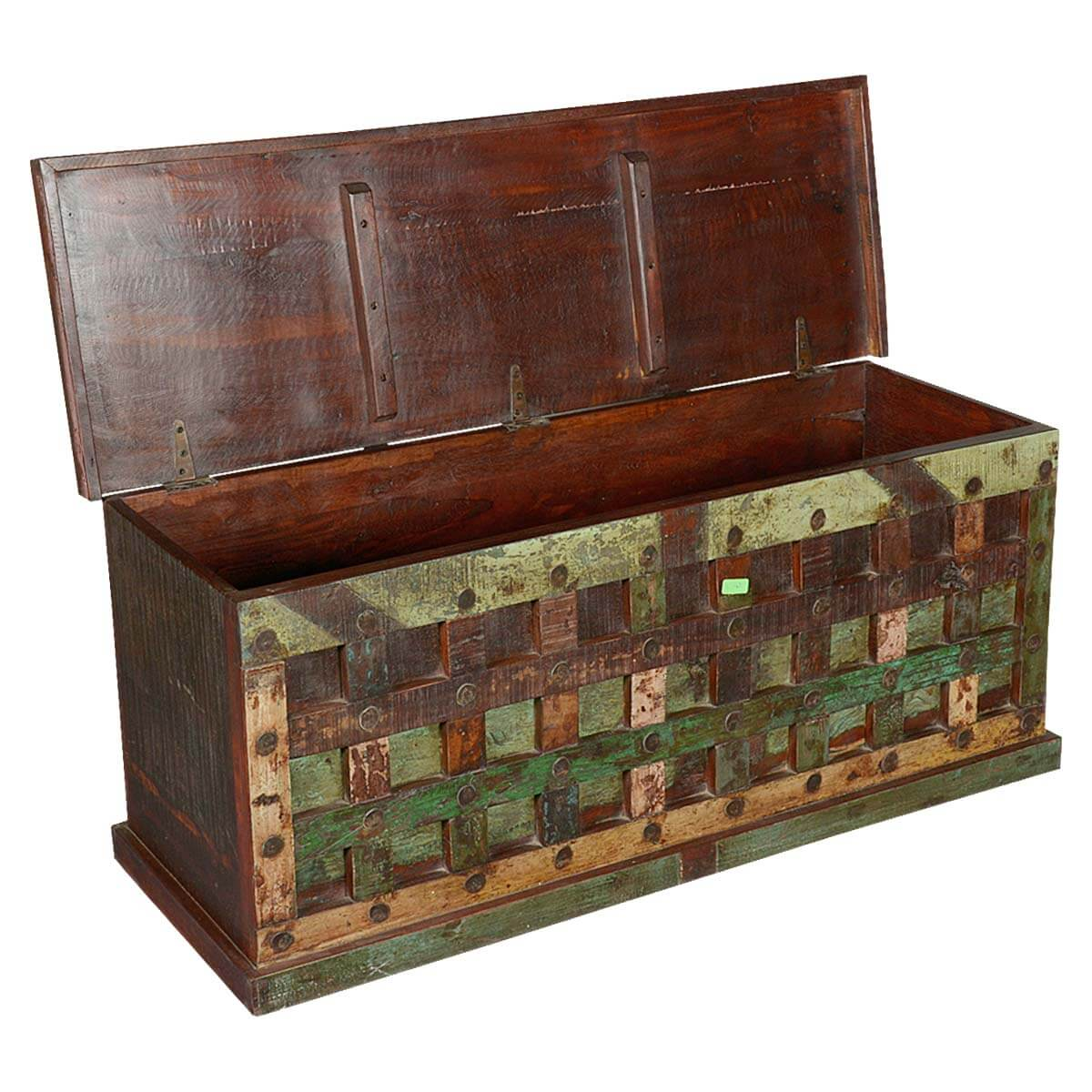 Wonderful image of  Collection Beaufort Rustic Reclaimed Wood Bed Storage Trunk Chest with #B26519 color and 1200x1200 pixels