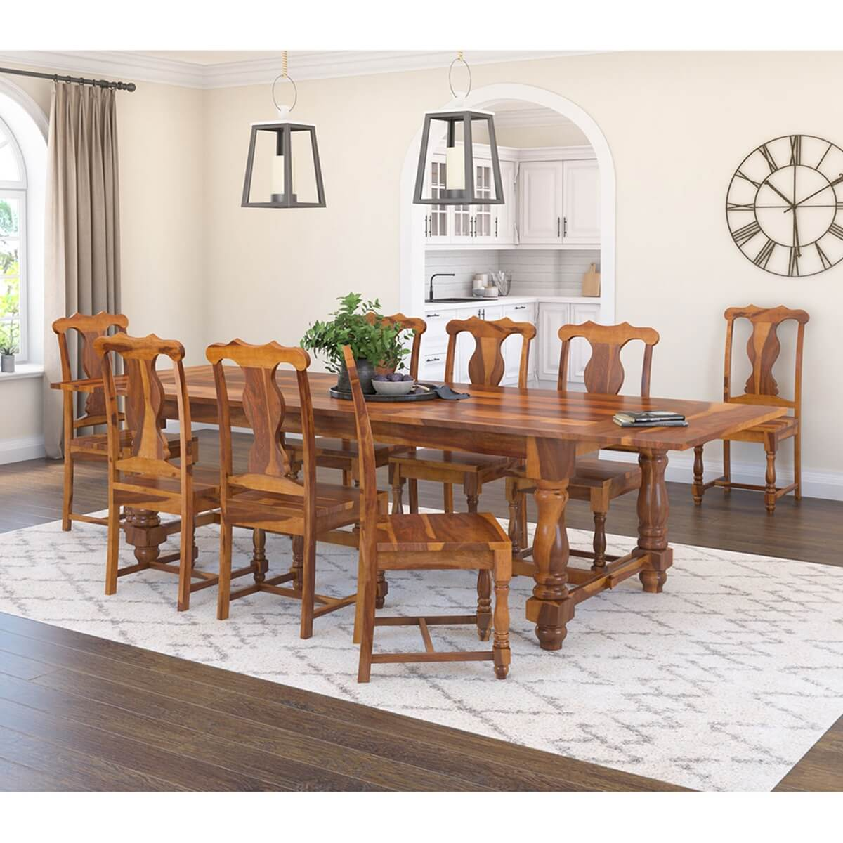 Rustic solid wood dining table chair set furniture w for Wooden dining table chairs