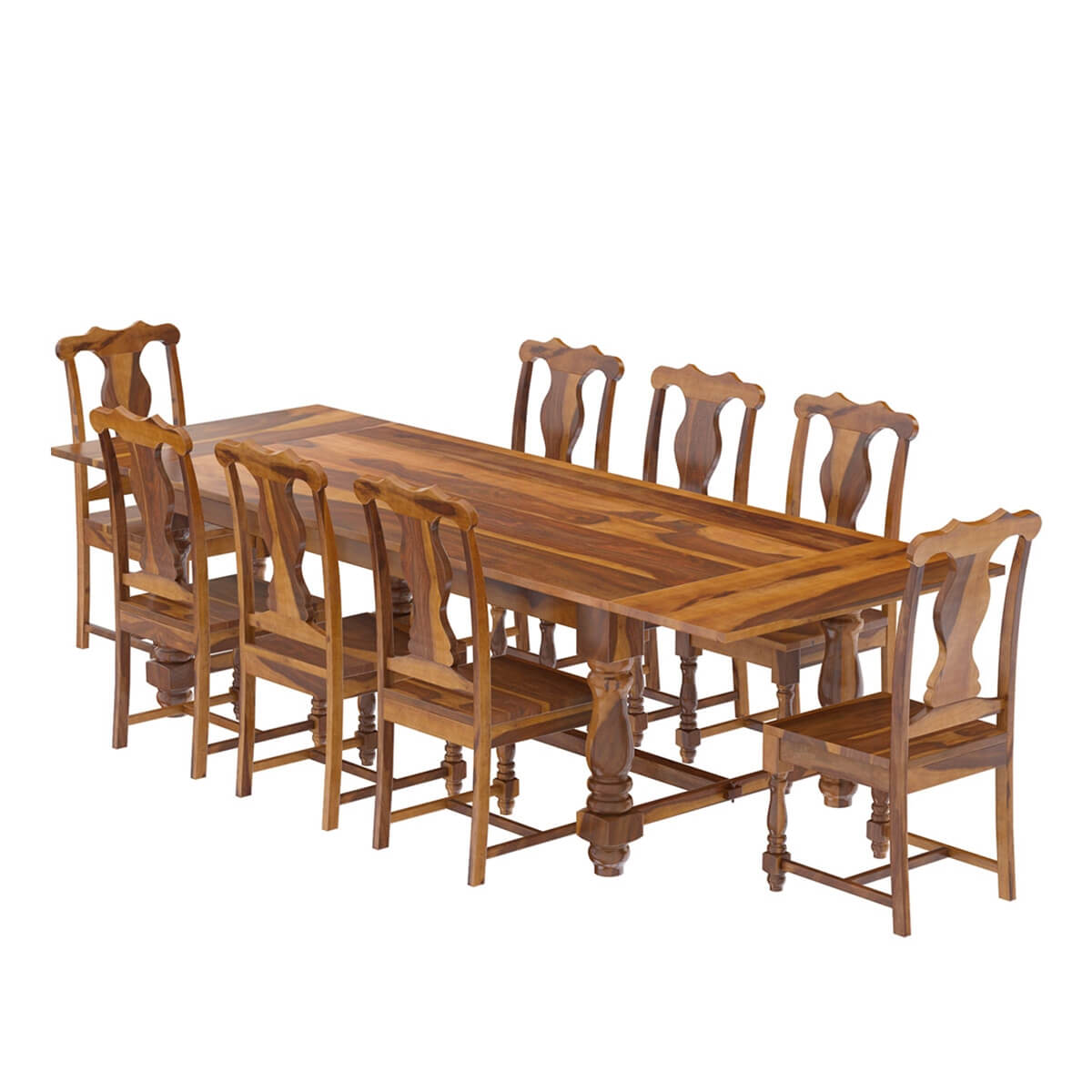 Rustic solid wood dining table chair set furniture w extension - Solid wood furniture ...