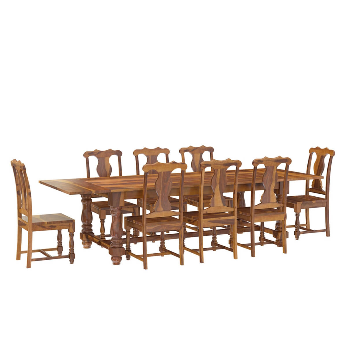 rustic solid wood dining table chair set furniture w extension. Black Bedroom Furniture Sets. Home Design Ideas