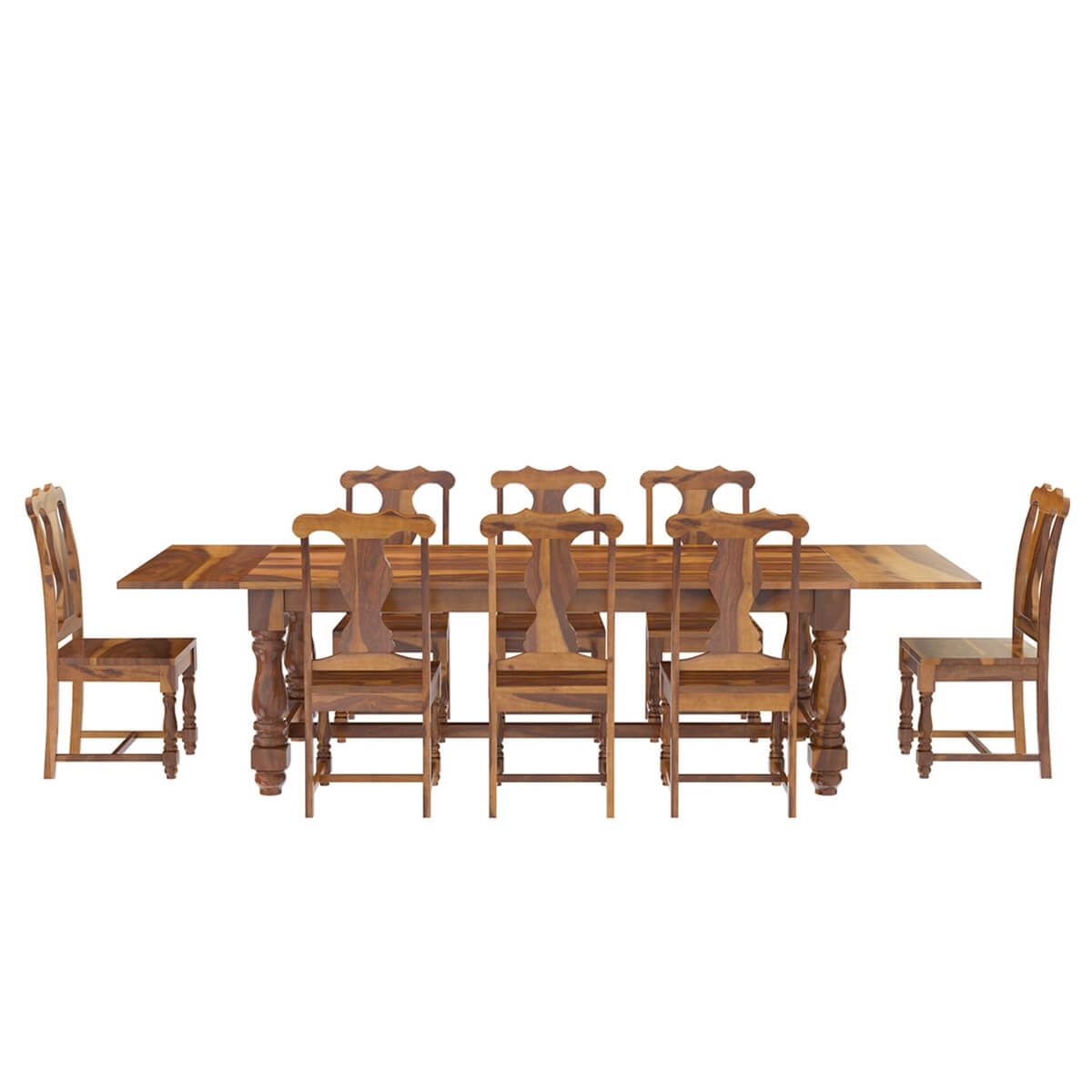 Sets Rustic Solid Wood Dining Table & Chair Set Furniture W Extension. Full resolution  photograph, nominally Width 1200 Height 1200 pixels, photograph with #B04F0D.
