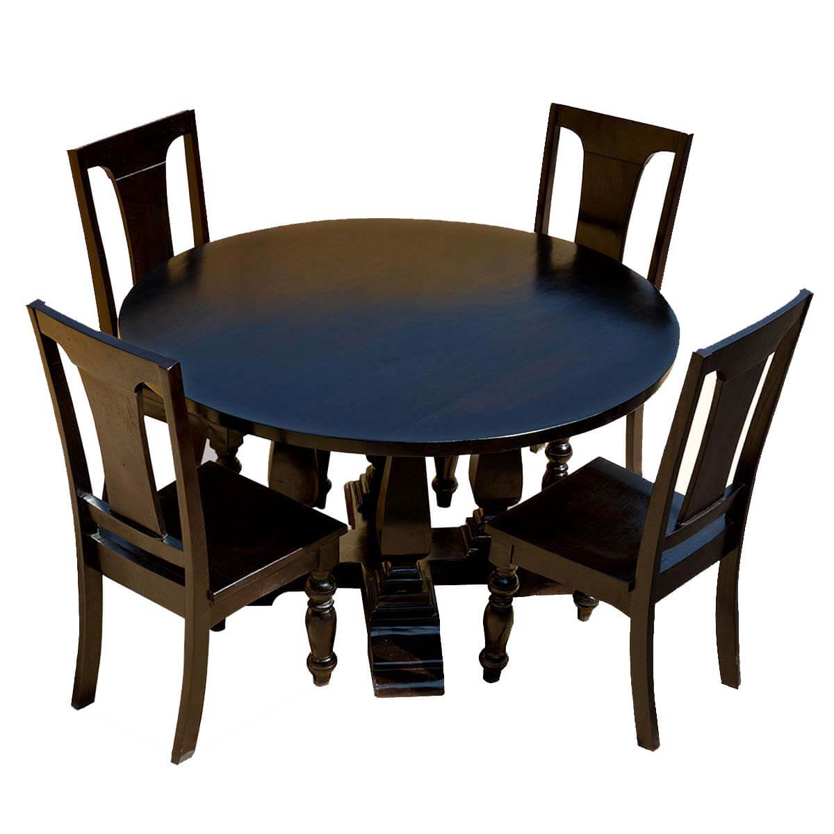 Mango wood lincoln study black round dining table chair set for Black round dining table