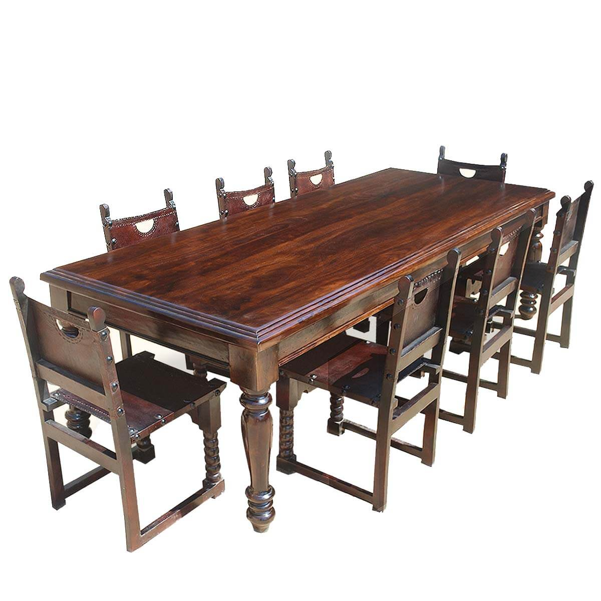 Large rustic solid wood dining room table w 8 leather for Wooden dining room furniture