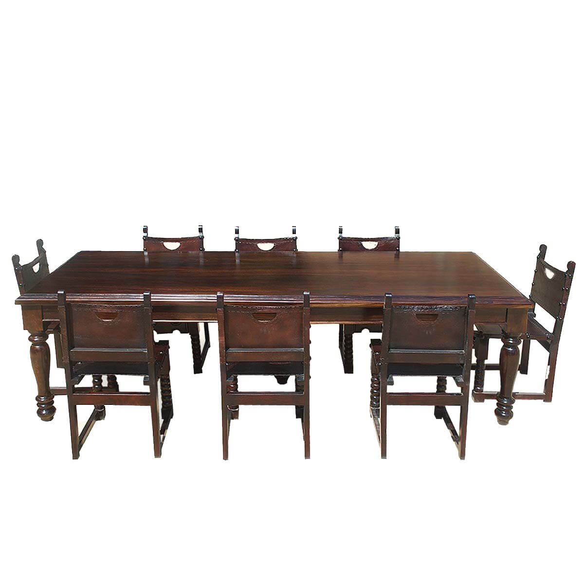 Large rustic solid wood dining room table w 8 leather for Leather dining room sets