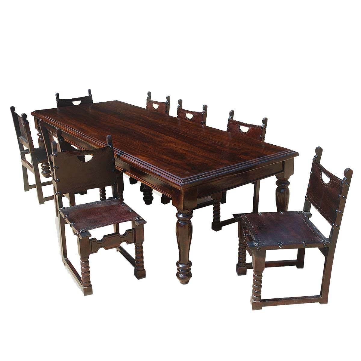 Large rustic solid wood dining room table w 8 leather for Wooden dining room chairs