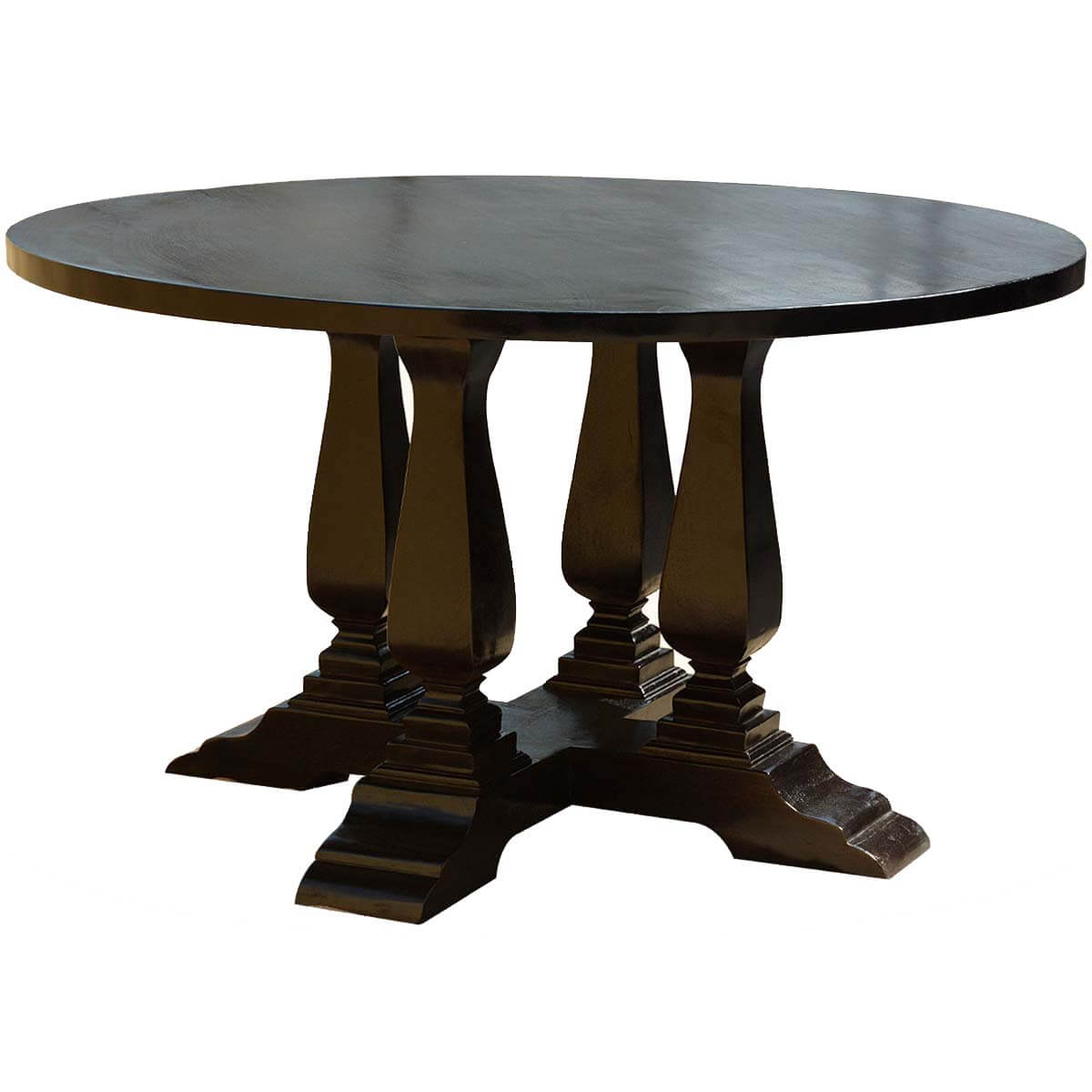 Black solid wood cruciform base baluster sutton 60 round for Solid wood round dining room table