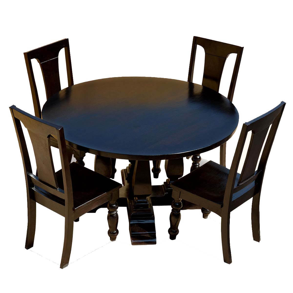 p black solid wood cruciform base baluster sutton round dining table