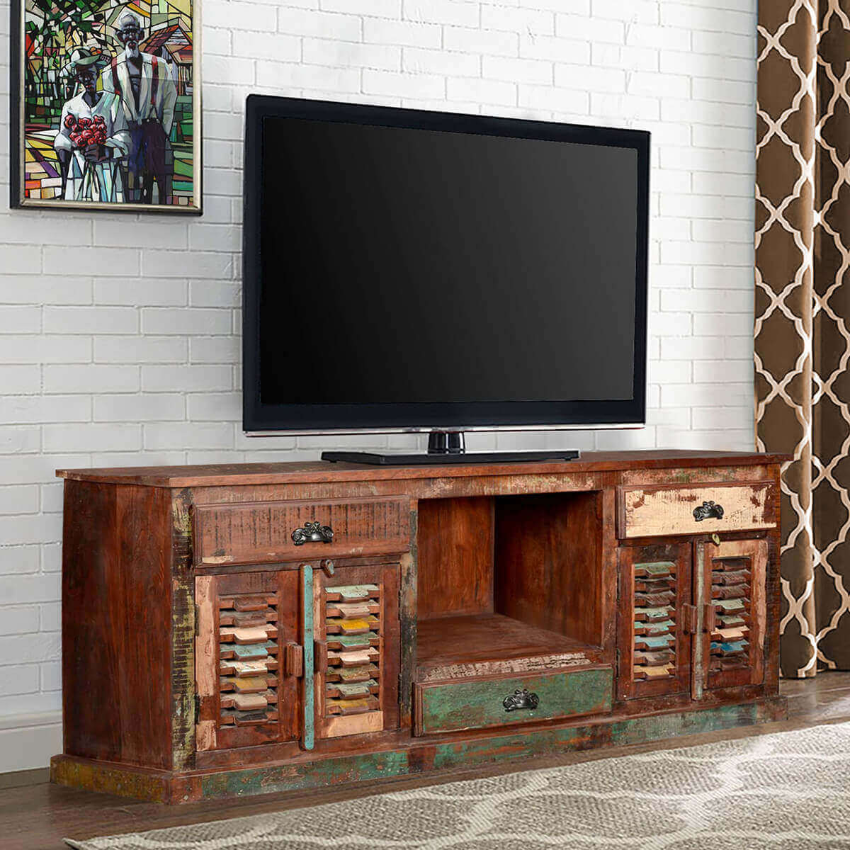 Rustic reclaimed wood large tv stand media console for Barnwood media cabinet