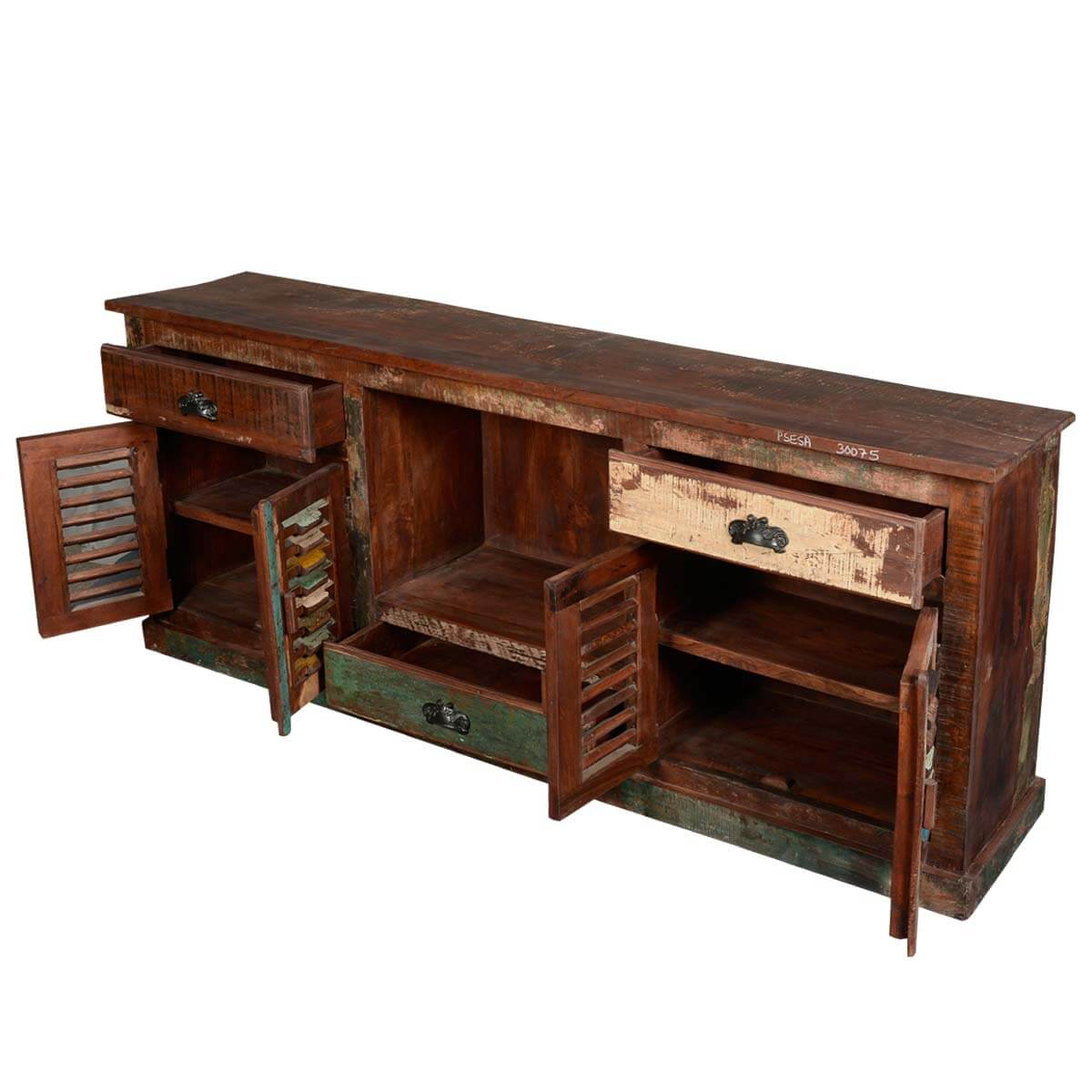 Rustic reclaimed wood large tv stand media console