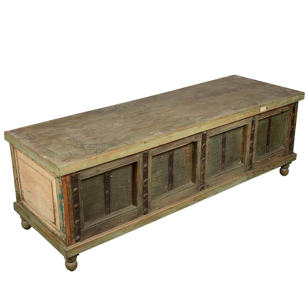Rustic Reclaimed Wood Gothic Large Storage Trunk Chest