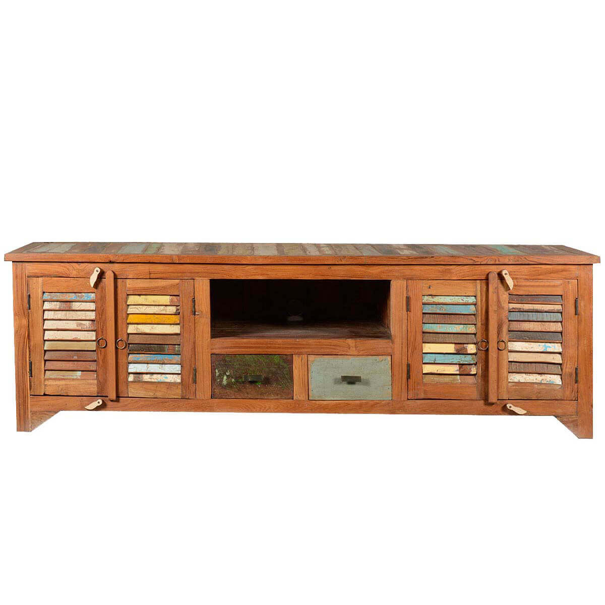 Rustic reclaimed wood rainbow shutter doors tv stand media Rustic tv stands