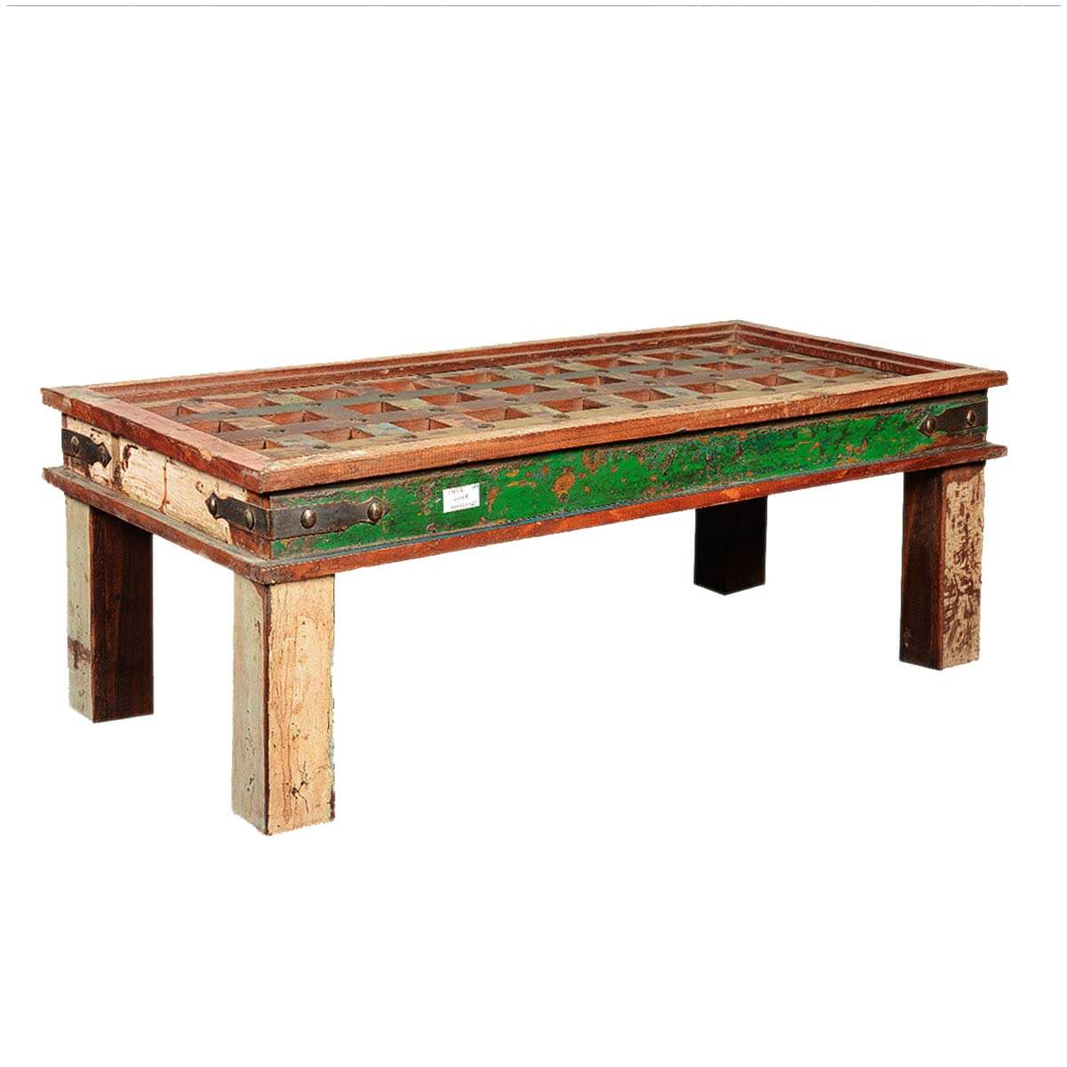 French Wood Coffee Table: Rustic Coffee Table French Quarter Reclaimed Wood Lattice Top