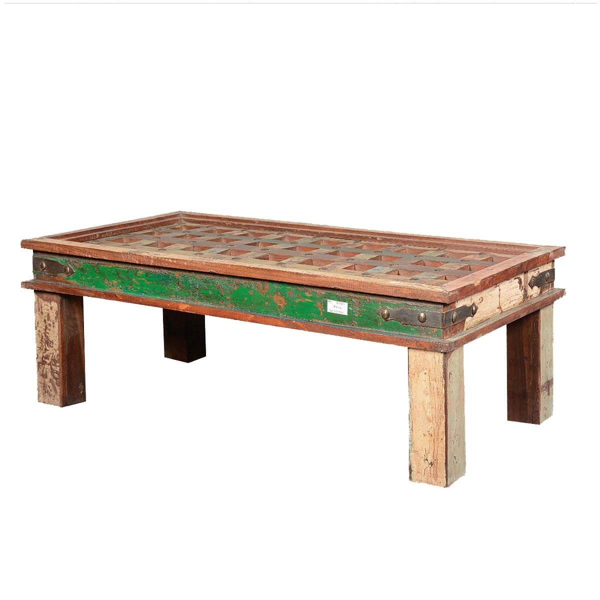 Rustic coffee table french quarter reclaimed wood lattice top for Reclaimed coffee table