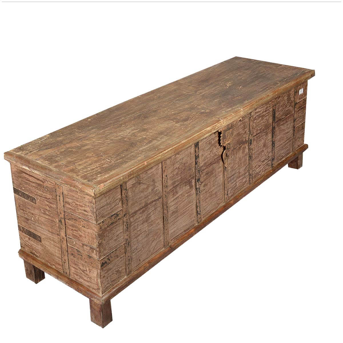 Wonderful image of Rustic Reclaimed Wood Extra Long Storage Trunk Chest with #9D782E color and 1200x1200 pixels