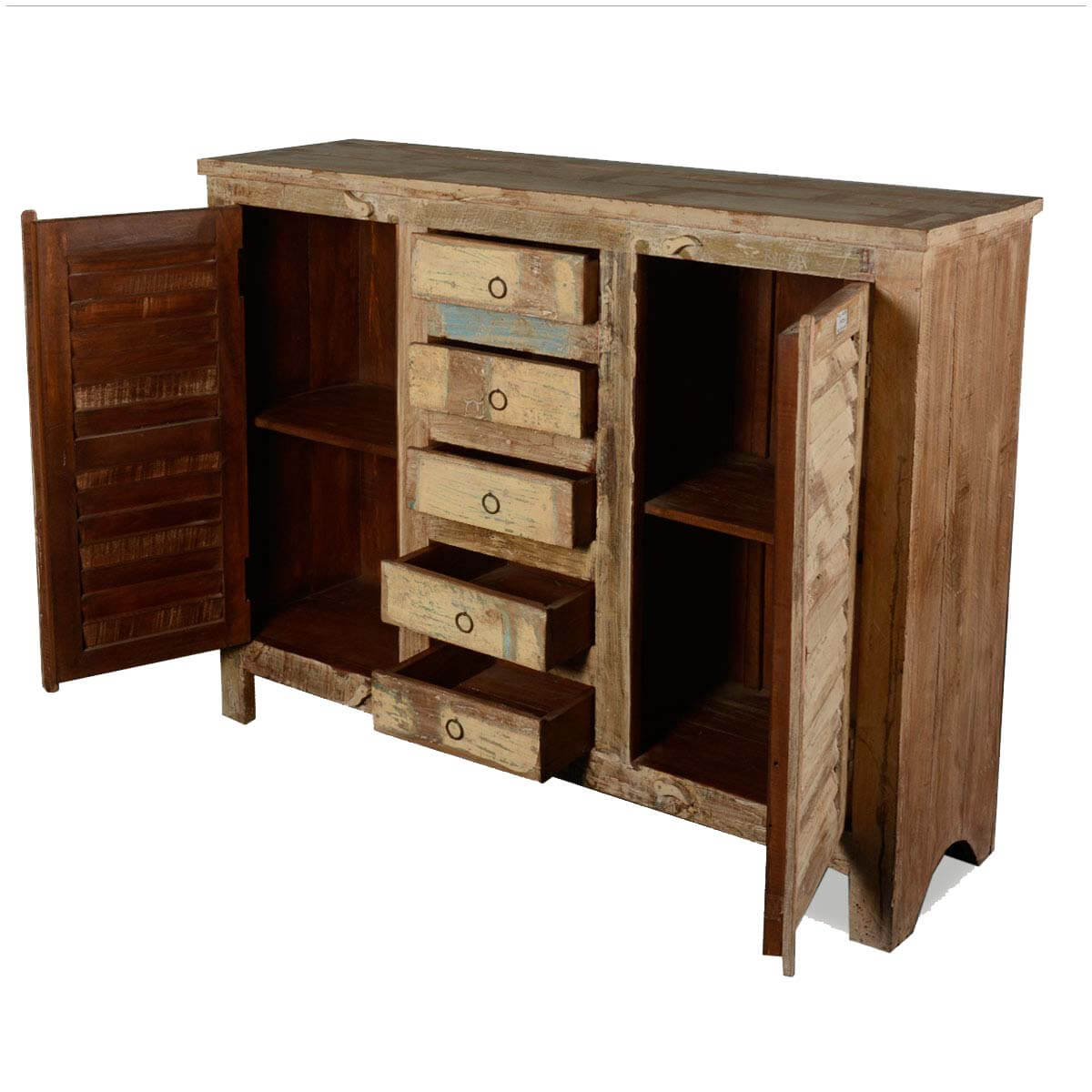 Weathered Reclaimed Wood Furniture 5 Drawer 2 Doors Sideboard Cabinet