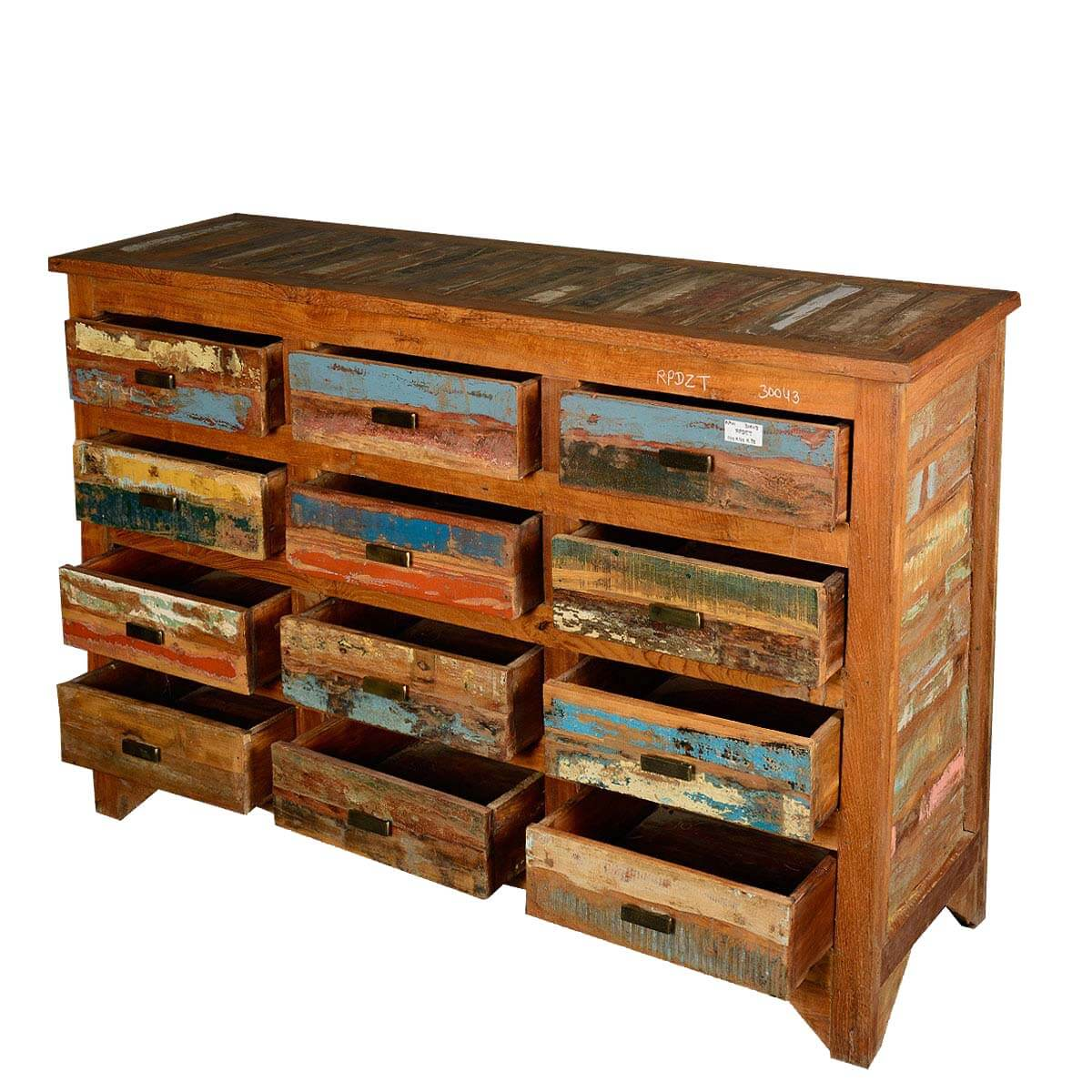Multicolored Rustic Reclaimed Wood 12 Drawer Horizontal