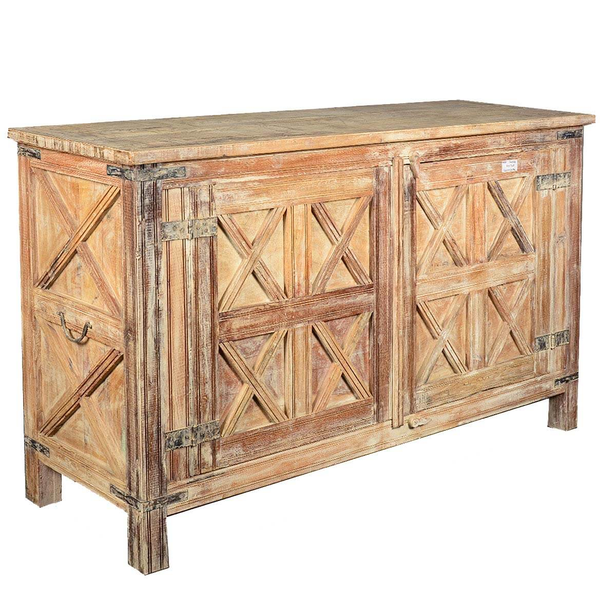 Rustic reclaimed wood door storage buffet cabinet with