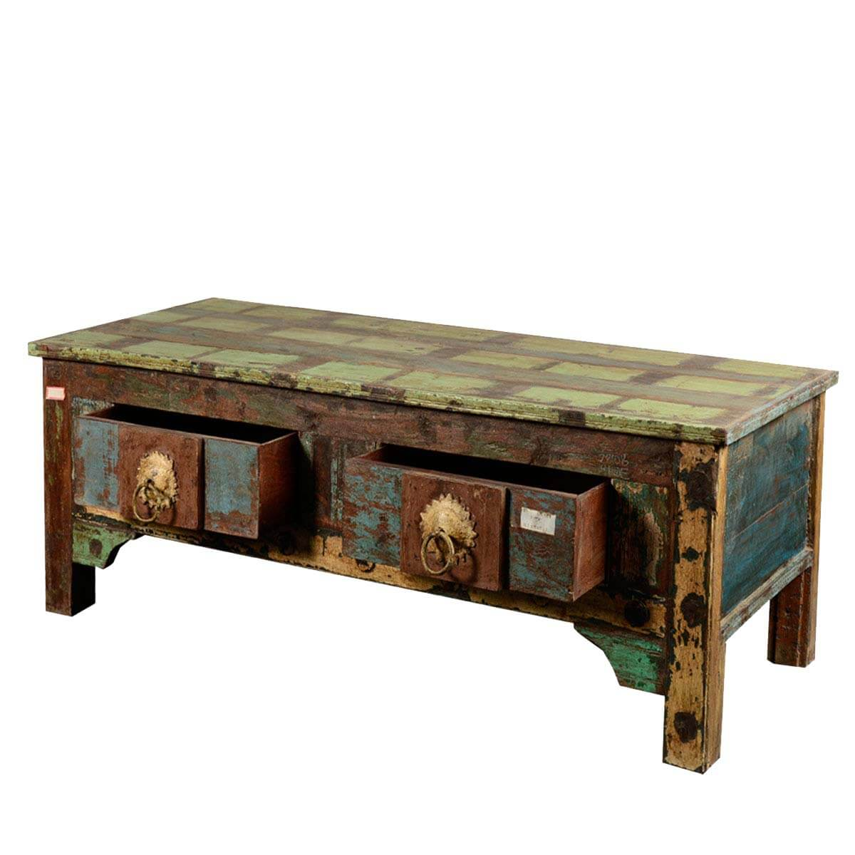 Rustic reclaimed wood sea comber coffee table with storage drawers Recycled wood coffee table