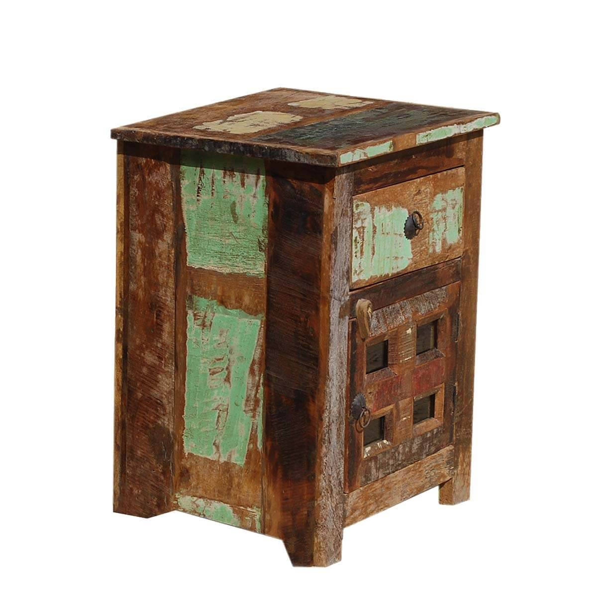 Appalachian Rustic Weathered Mango Wood End Table Nightstand