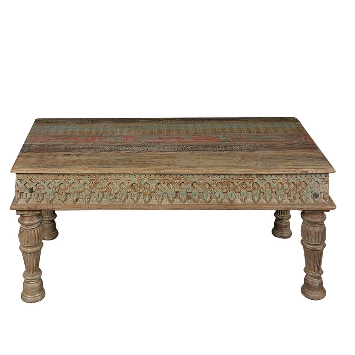 Reclaimed wood english tudor hand carved rustic coffee table Carved coffee table