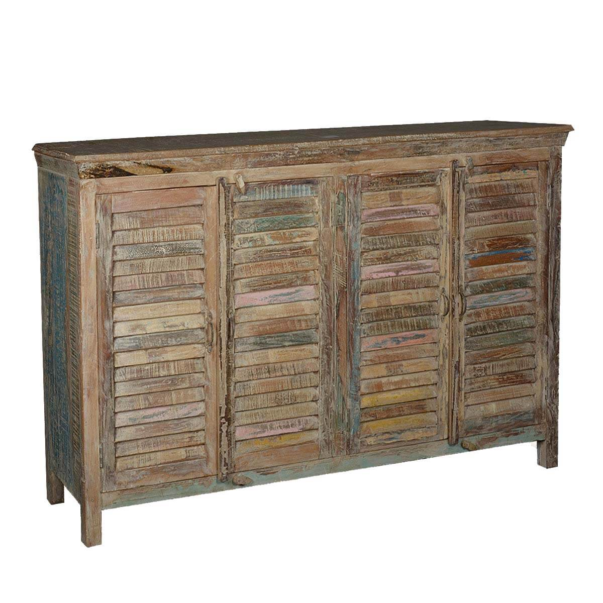 Weathered Reclaimed Wood Sideboard Credenza Cabinet Furniture
