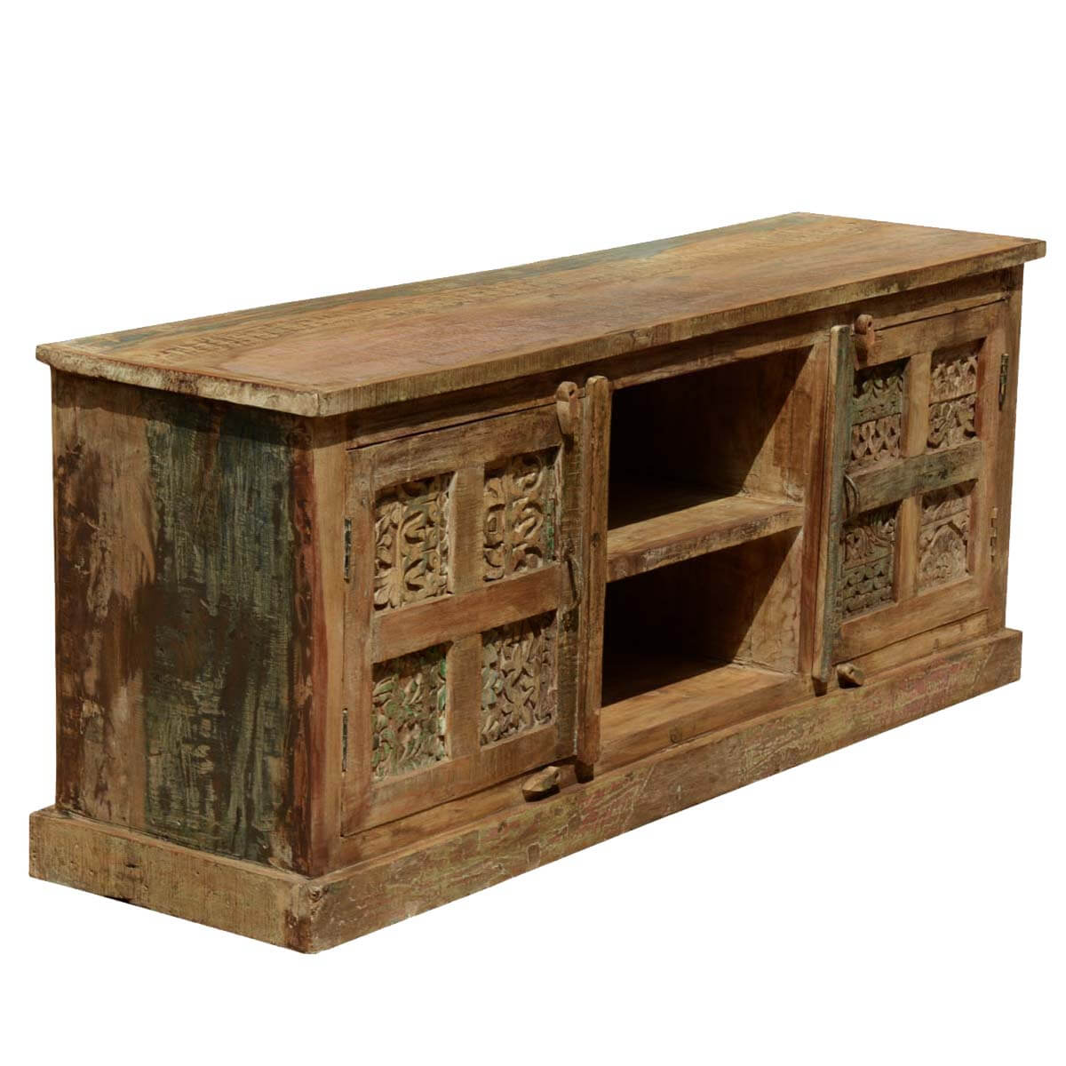 Rustic Reclaimed Wood 8 Hand Carved Tiles 60 Tv Media Stand