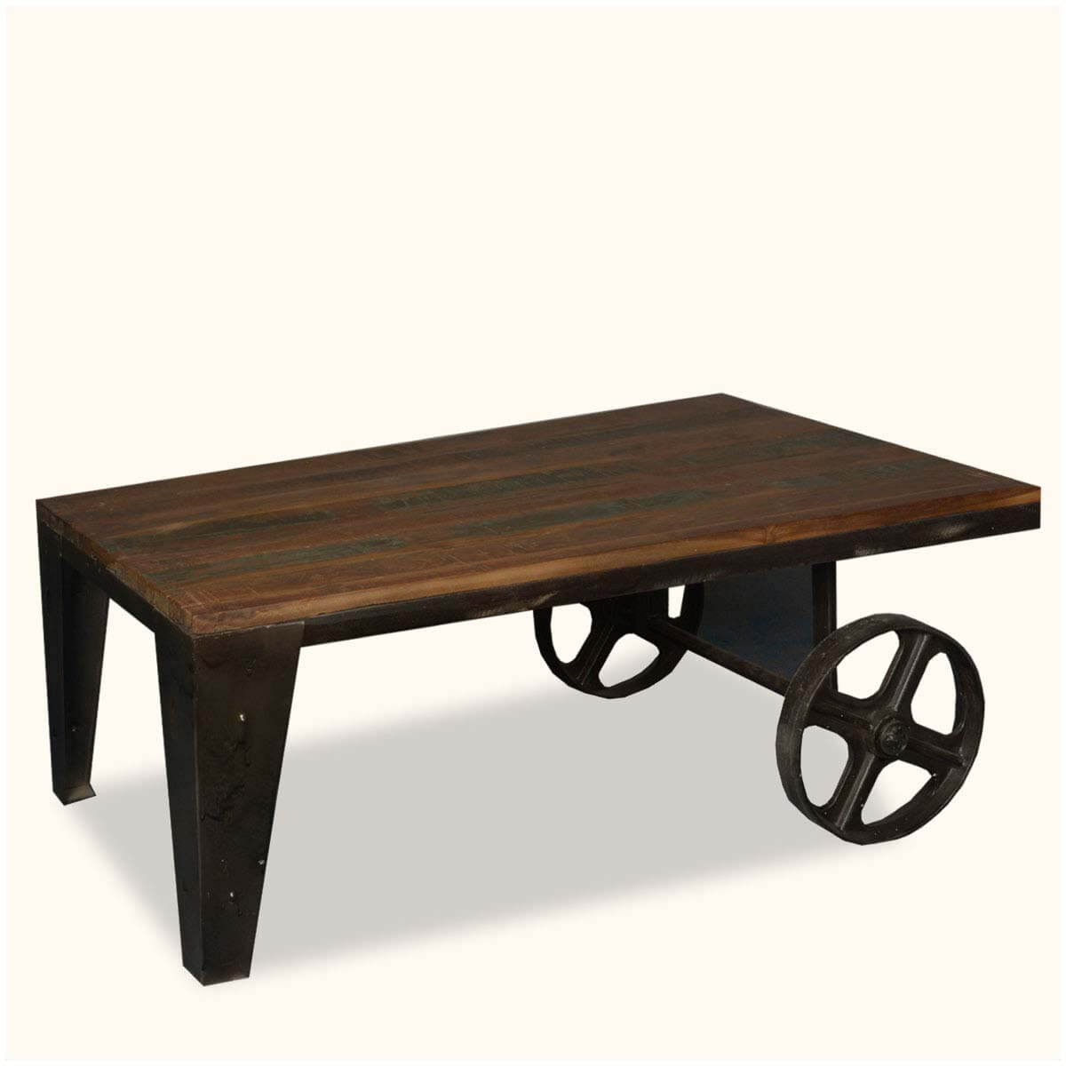 Vintage Old Reclaimed Wood Industrial Factory Cart Coffee Table