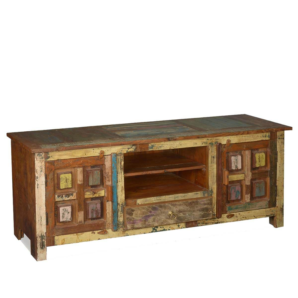 Solid wood handcrafted rustic tv stand media console Rustic tv stands